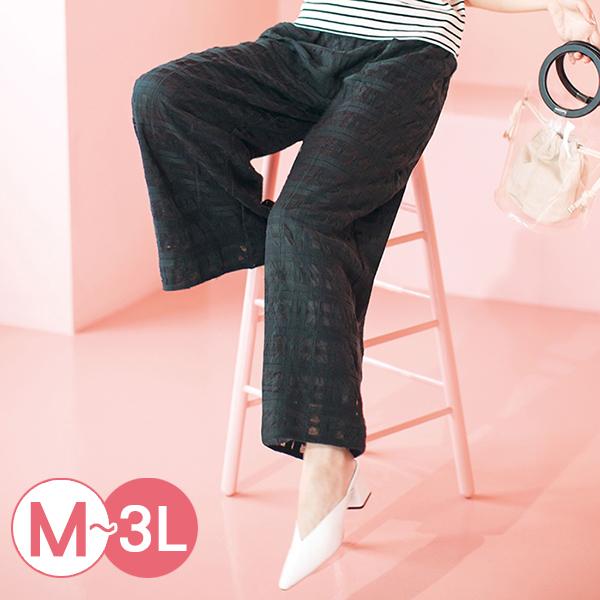 日本代購-時尚輕透格紋蕾絲直筒褲(M-LL) 日本代購,格紋,直筒褲