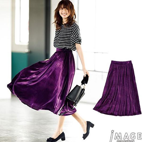 日本代購-特價神秘紫華麗風天鵝絨喇叭裙S-L(售價已折) 日本空運,東區時尚,喇叭裙