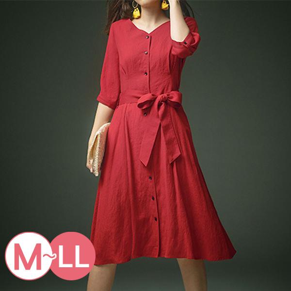 日本代購-雅緻排釦綁結V領連身洋裝(M-LL) 日本代購,排釦,V領