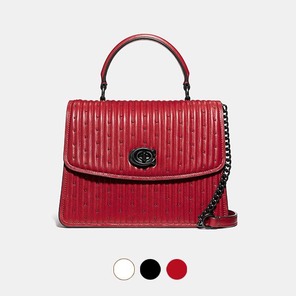 日本代購-COACH PARKER 鉚釘絎縫轉釦手提包 agnes b.,東區時尚,鉚釘