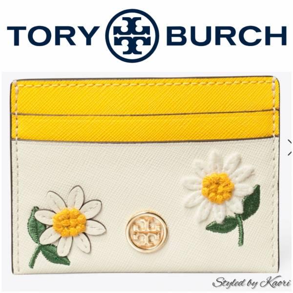 超值代購 TORY BURCH Robinson Embroidered Card Case小雛菊卡夾(售價已折) Tory Burch ,卡夾