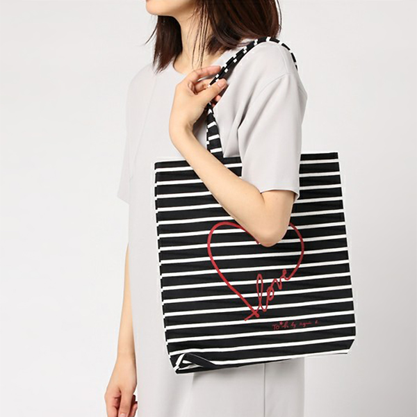 日本代購-To b. by agnes b. 心形LOVE帆布大手提袋 agnes b.,東區時尚,帆布
