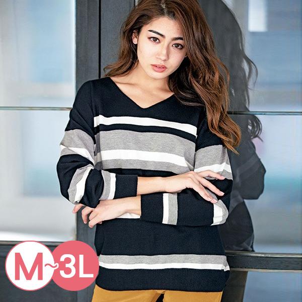 日本代購-RyuRyu mall親膚V領配色條紋針織衫(共二色/3L) 日本代購,RyuRyu mall,條紋