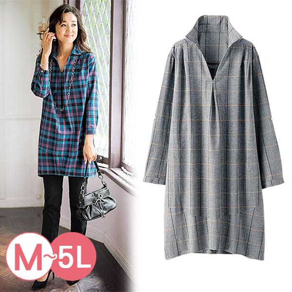 日本代購-portcros長版造型折縫格紋襯衫(共四色/3L-5L) 日本代購,portcros,格紋