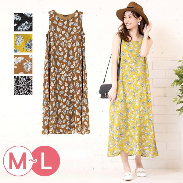 日本代購-渡假風印花無袖長洋裝(共四色/M-L) 日本代購,印花,無袖
