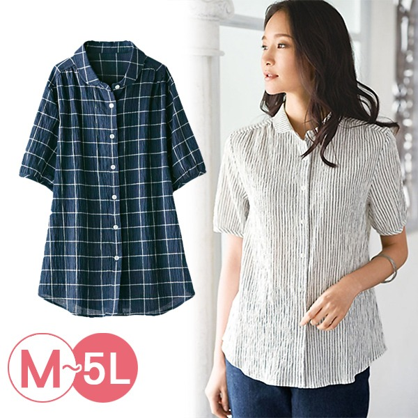 日本代購-portcros涼爽皺感小翻領襯衫3L(共四色) 日本代購,portcros,襯衫