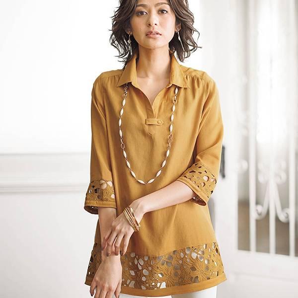 日本代購-現貨portcros袖子&下擺蕾絲襯衫 日本代購,portcros,襯衫