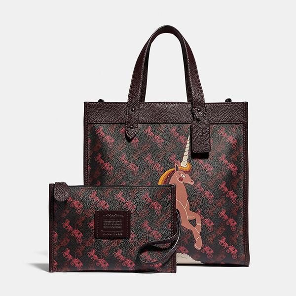日本代購-COACH FIELD 復古獨角獸塗鴉附小袋2way托特包 agnes b.,東區時尚,托特包