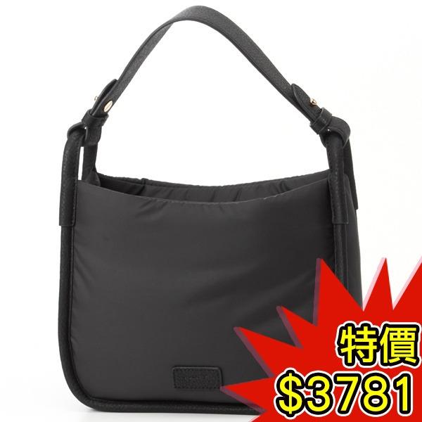日本代購-agnes b.VOYAGE 皮革滾邊塔夫綢手提包(共二色) agnes b.,東區時尚,手提包