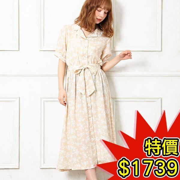 日本代購-INGNI復古繫帶碎花襯衫洋裝(共三色) 日本空運,東區時尚,碎花