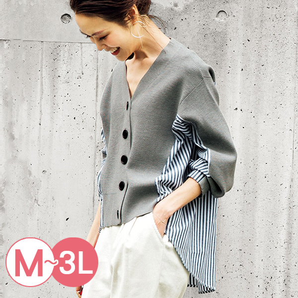 日本代購-RyuRyu mall前短後長襯衫拼接開襟針織衫(共二色/M-LL) 日本代購,RyuRyu mall,前短後長