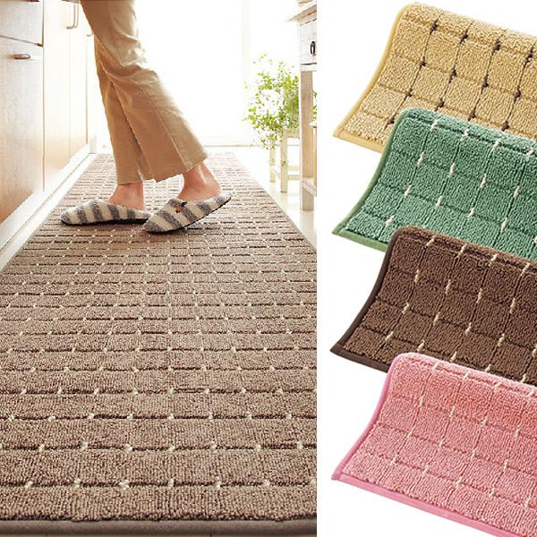 日本代購-方格設計素色廚房地墊腳踏墊-240x45cm 日本代購,東區時尚,腳踏墊