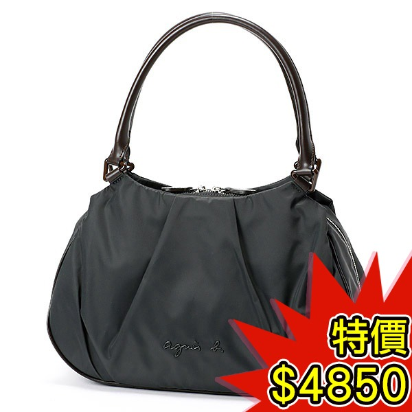 日本代購-agnes b.VOYAGE 典雅皮革提把折縫尼龍手提包(共二色) agnes b.,東區時尚,手提包