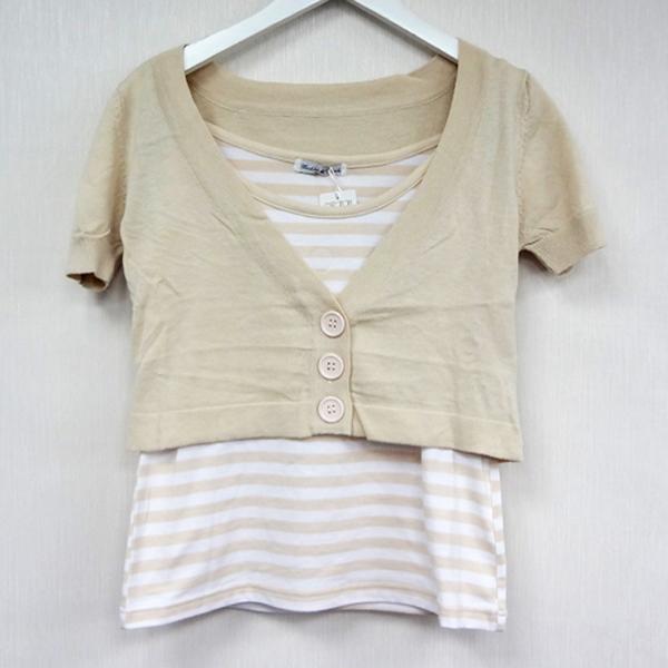 現貨-日本CIELO Mevbles de Monde卡其條紋二件式背心罩衫-淺卡其/M 日本代購,現貨,長褲