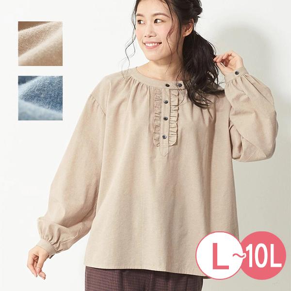日本代購-甜美荷葉邊皺褶圓領拉絨襯衫(共二色/3L-10L) 日本代購,襯衫