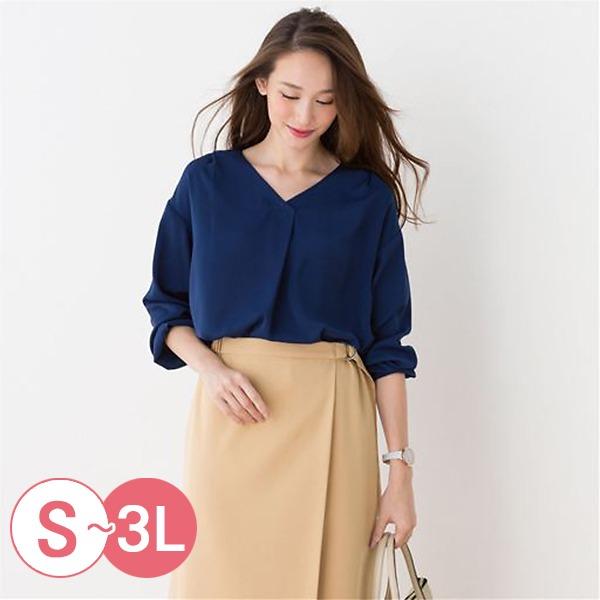 日本代購-cecile經典折縫V領襯衫3L(共三色) 日本代購,CECILE,V領