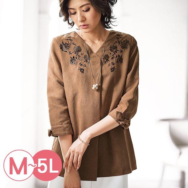 日本代購-portcros袖口綁結刺繡麂皮絨上衣M-LL(共四色) 日本代購,portcros,刺繡