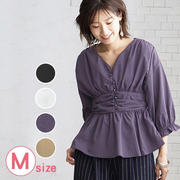 日本代購-高腰設計抽褶糖果袖上衣(共四色/M) 日本代購,糖果袖,高腰