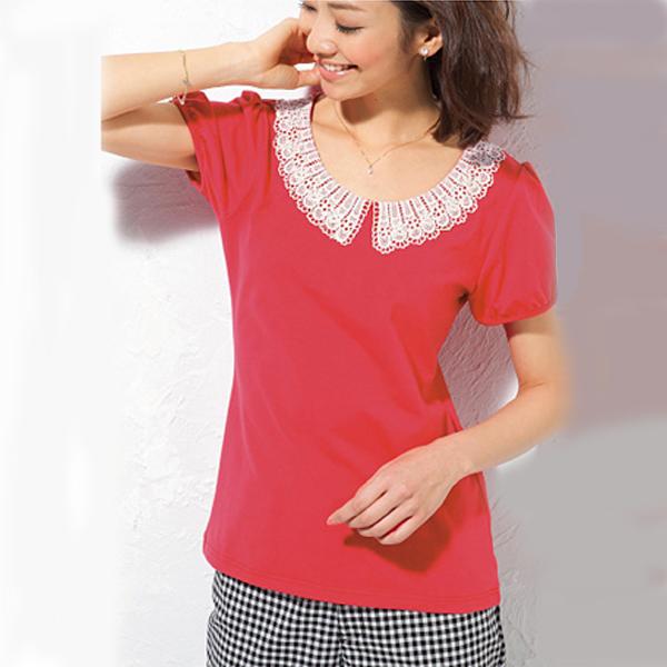 日本現貨-cecile蕾絲領上衣(珊瑚紅/M) 日本代購,cecile,上衣