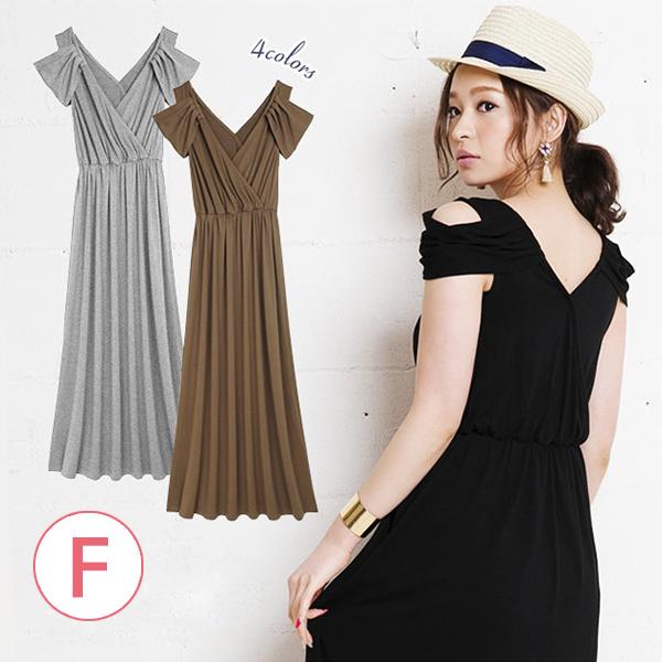 日本代購-挖肩疊襟高腰連身洋裝(共三色/F) 日本代購,露肩,洋裝