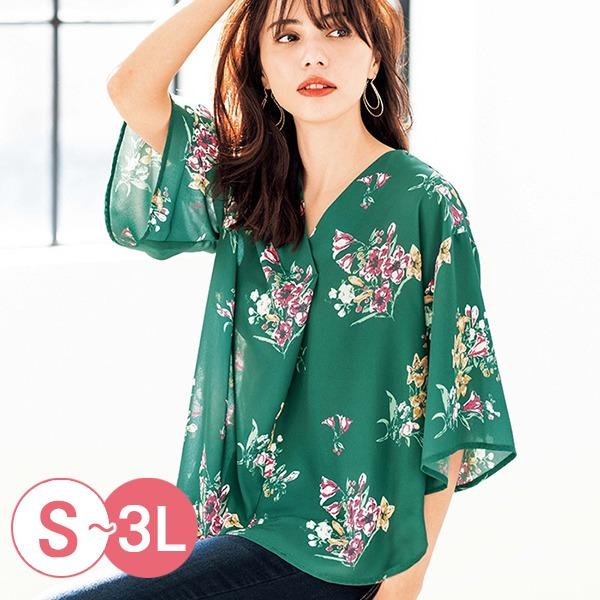 日本代購-portcros氣質折縫V領印花寬袖上衣S-LL(共四色) 日本代購,portcros,寬袖
