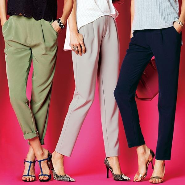 現貨-portcros打褶設計後腰鬆緊小腳褲(淺綠色/LL) 日本代購,portcros,小腳褲