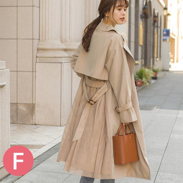 日本代購-背部薄紗拼接長版風衣(共四色/F(M)) 日本代購,薄紗,拼接