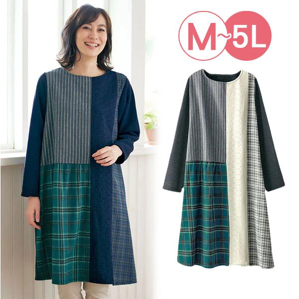 日本代購-拼布風蕾絲格紋裡拉絨洋裝(共二色/3L-5L) 日本代購,蕾絲,格紋