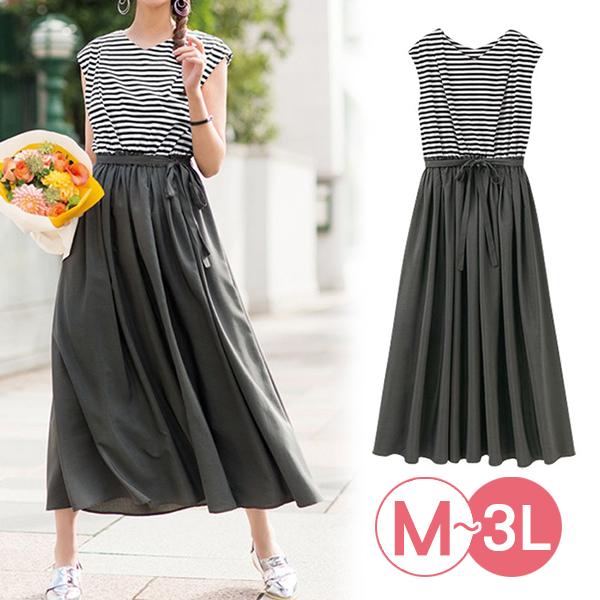 日本代購-條紋對接綁結連身洋裝(3L) 日本代購,條紋,拼接