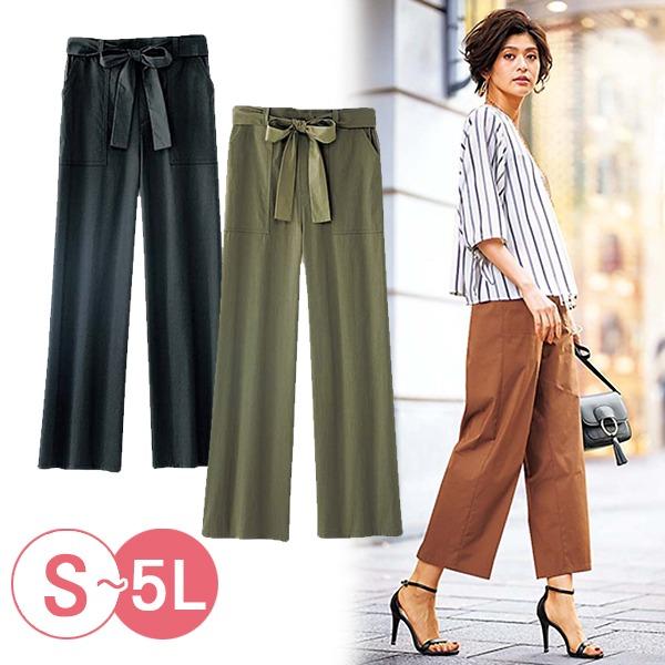 日本代購-portcros大口袋後腰鬆緊混棉寬褲3L-5L(共五色) 日本代購,portcros,寬褲