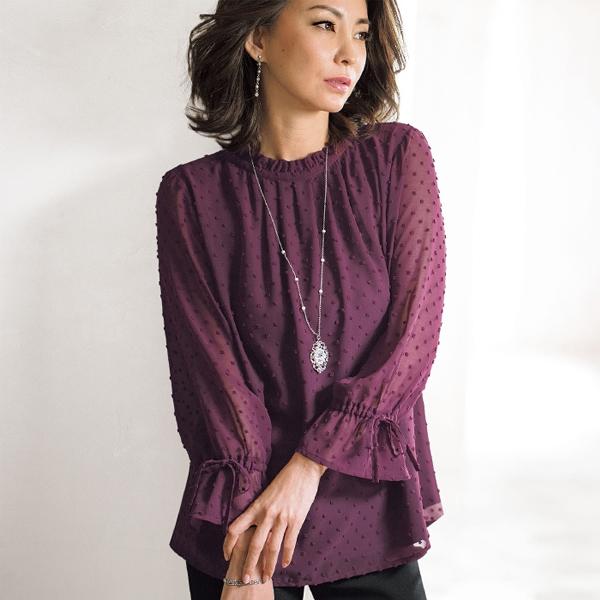 日本代購-portcros皺褶領袖綁結點點上衣(共四色/M-LL) 日本代購,portcros,上衣