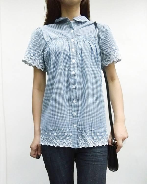 日本ANNA LUNA 現貨-刺繡滾花邊下擺襯衫(共二色/L) 日本代購