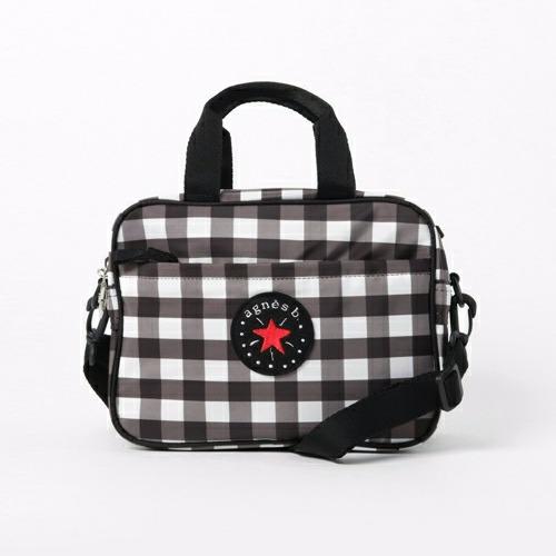 日本限定agnes b.色織格紋2way包包 agnes b.,日本空運,東區時尚,