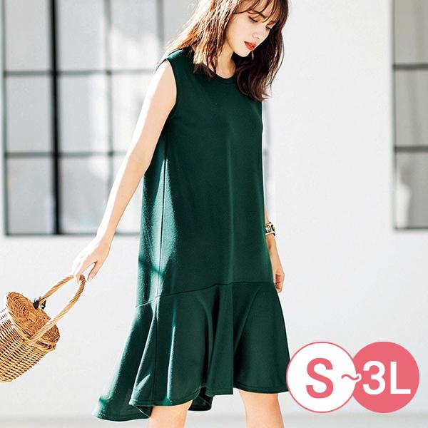 日本代購-簡雅無袖魚尾長版上衣洋裝(共三色/3L) 日本代購,無袖,魚尾
