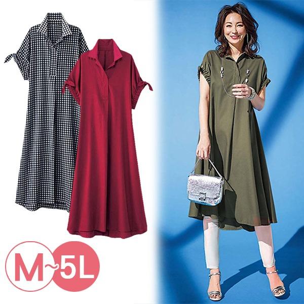 日本代購-portcros袖口抽褶綁結長版襯衫洋裝3L-5L(共五色) 日本代購,portcros,洋裝