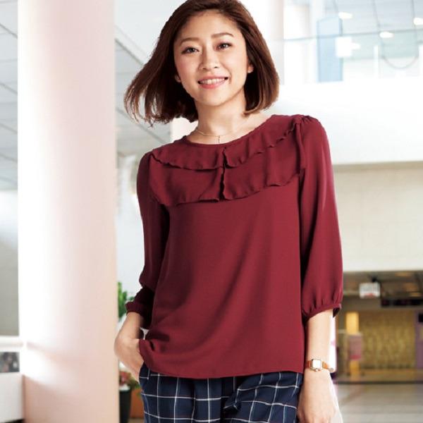 現貨-portcros胸前褶邊設計七分袖上衣(象牙白/L) 日本空運,東區時尚,OL,胸前,褶邊,設計,七分袖,上衣