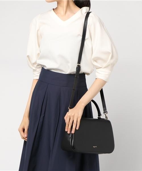 日本代購-特價agnes b 全牛皮掀蓋磁扣3way 鍊帶/ 皮革背帶/ 手提包(售價已折) agnes b.,東區時尚,手提包,肩背包