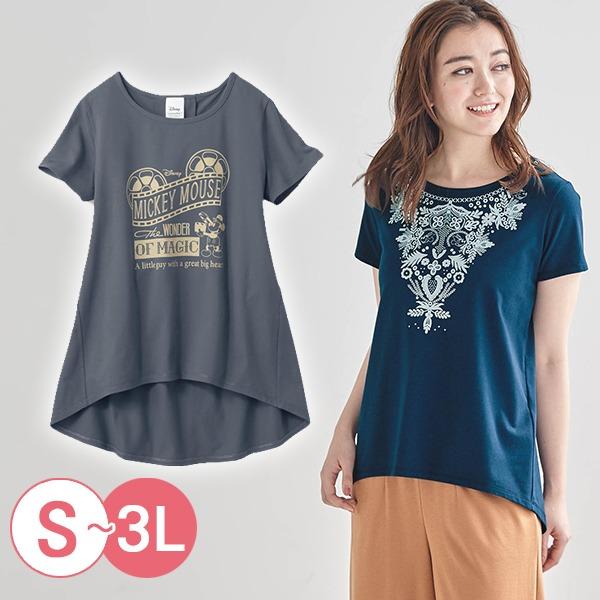 日本代購-前短後長迪士尼米奇唐老鴨T恤(共三色/3L) 日本空運,東區時尚,T恤