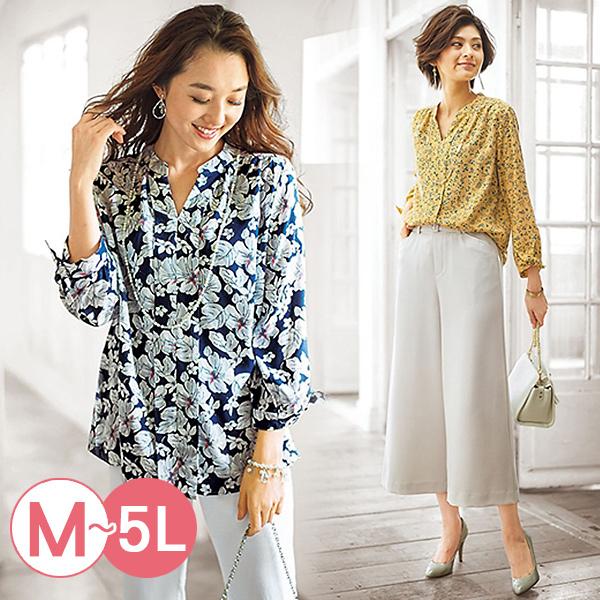 日本代購-portcros袖口綁結高雅印花罩衫3L-5L(共四色) 日本代購,portcros,印花
