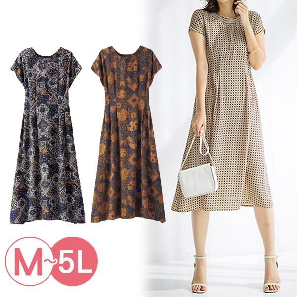 日本代購-復古風折縫高腰印花洋裝(共二色/3L-5L) 日本代購,高腰,洋裝