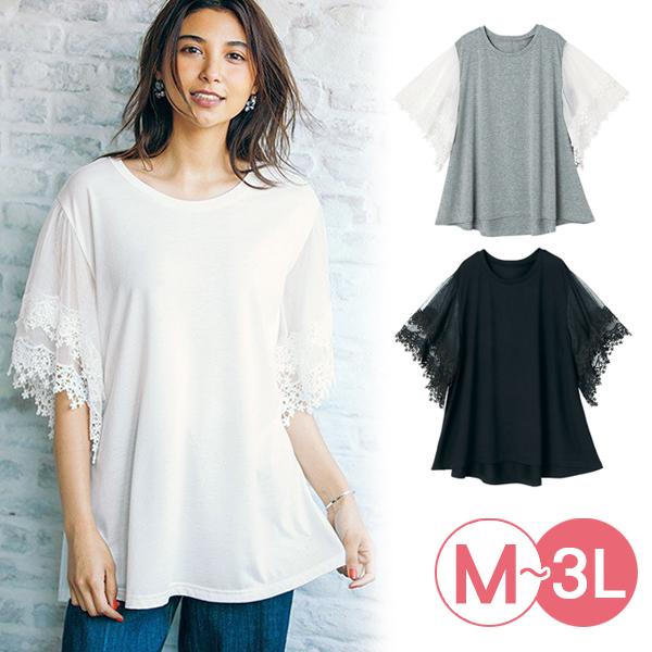 日本代購-portcros飄曳蕾絲袖拼接T恤(共三色/3L) 日本代購,portcros,蕾絲