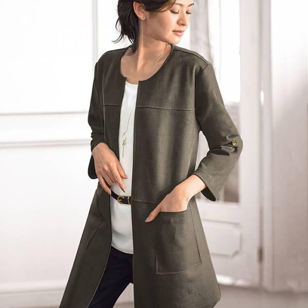 日本代購-portcros麂皮壓線大口袋長外套(共四色/M-LL) 日本代購,portcros,長外套