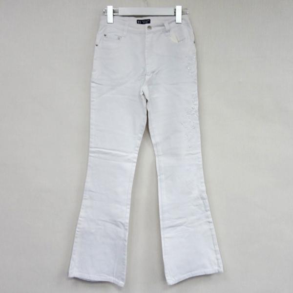 現貨-日本CIELO 刺繡亮片修身喇叭牛仔褲-白色/27、28 日本代購,現貨,長褲