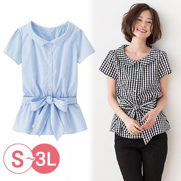 日本代購-cecile綁帶鬆緊腰2way襯衫3L(共二色) 日本代購,CECILE,襯衫