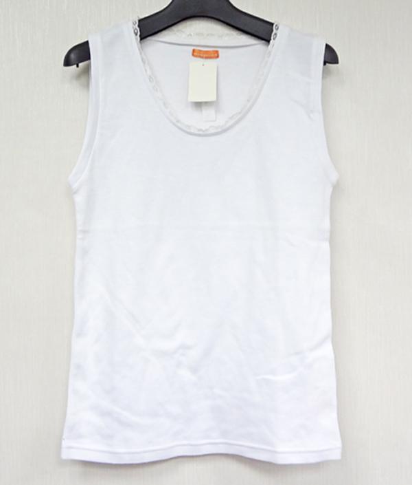 現貨-領口蕾絲滾邊純白棉質背心(白色/F) 日本代購,現貨