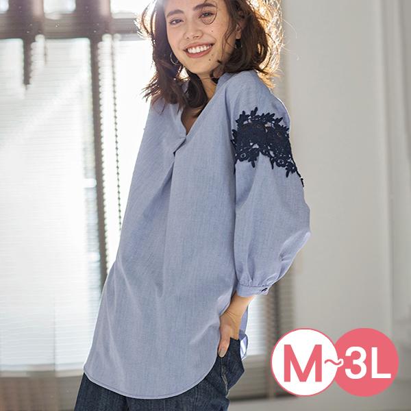 日本代購-portcros立體蕾絲拼接折縫襯衫(共四色/M-LL) 日本代購,portcros,蕾絲