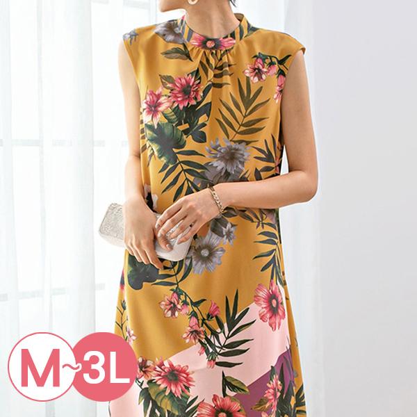 日本代購-夏日熱帶風花卉無袖洋裝(M-LL) 日本代購,無袖,印花