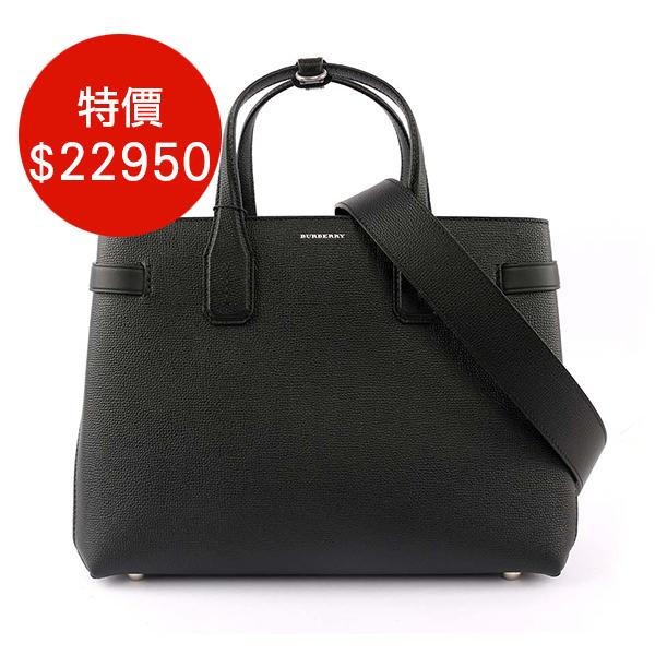 日本代購-BURBERRY THE BANNER VINTAGE中型格紋皮革包(黑色)  agnes b.,東區時尚,格紋