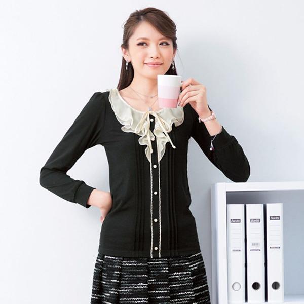 現貨-portcros柔美秀雅雪紡荷葉領配色上衣(粉紅x黑/LL) 日本代購,portcros,上衣