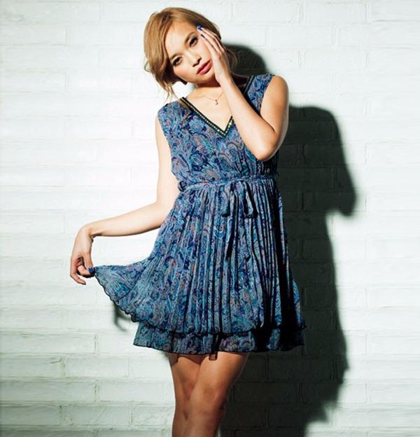現貨-portcros名媛氣質雪紡皺褶無袖連身洋裝(藏青渦紋/LL) 日本代購,portcros,洋裝